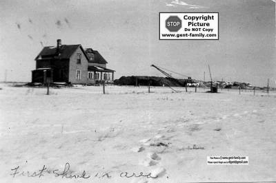 First Shovel in the area of our Farm house located 1 mile south of Bienfait. Picture dated Jan 27, 1953