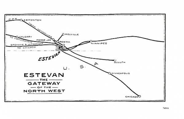 Page 7- Map of Railroads connecting thru Estevan area